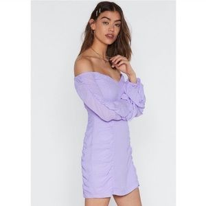Nasty Gal What's The Ruche Off-the-shoulder Dress